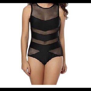 New One piece black body suit/bathing suit M